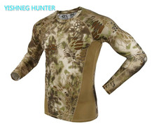 2019 autumn Long Sleeve Military Camouflage T-shirt Men Tactical Army Combat T Shirt Quick Dry Camo Hunt Clothing Casual shirt