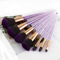 Belleza 7 piezas púrpura Diamante de pinceles de maquillaje conjunto cristal portátil Fundación mezcla en polvo cepillos cosméticos maquillaje