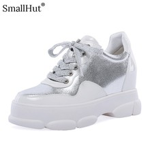 Women Platform Sneaker Genuine Leather New 2019 Spring Autumn Casual Round Toe Silver Ladies Cross-tied Flat With Shoes E020