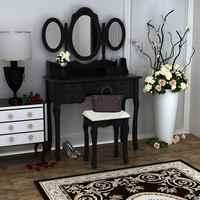 Home Möbel Make-Up Dressing Tisch Mit Hocker 7 Schubladen Einstellbare Spiegel Schlafzimmer Barock stil Schnelle versand
