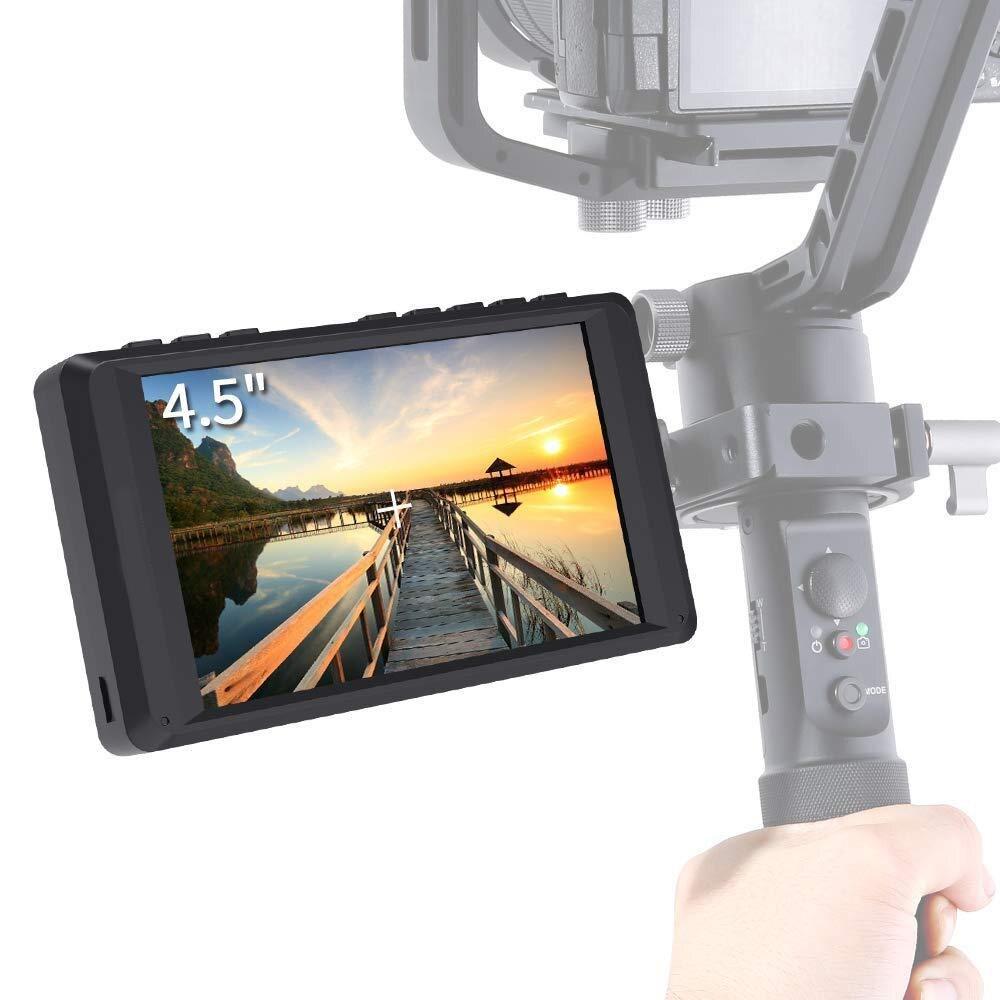 Hot-4.5 pouces DSLR caméra moniteur de terrain IPS 1280x800 petite aide vidéo HD avec entrée HDMI 4K sortie de pointe mise au point Portable LCD