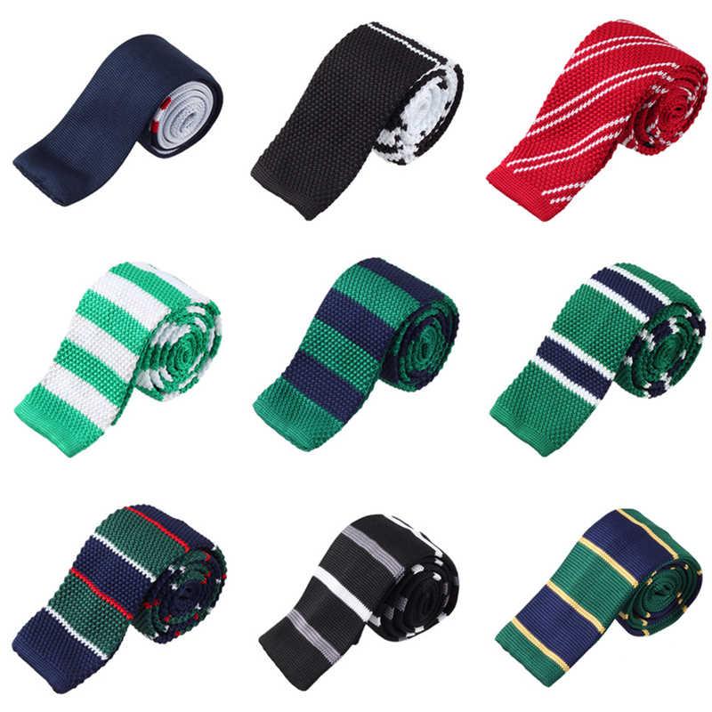 New Lavorato A Maglia Collo Cravatta Per Gli Uomini Plaid & Controlli Gravatas Borboleta Rosso Geometrica Cravatte degli uomini Blu del Vestito di Affari Cravatta maschio JKT2