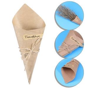 Image 2 - 50/100 stücke DIY Kraft Papier Kegel Candy Boxen Roman Kreative Eis Blume Halter Kraft Papier für Hochzeit party Geschenke Crafting