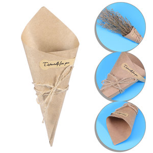 Image 2 - 50/100pcs DIY Kraft Paper Cones Candy Boxes Novel Creative Ice Cream Flower Holder Kraft Paper for Wedding Party Gifts Crafting
