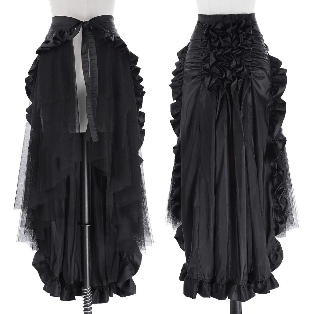 Victorian Steampunk Gothic Punk Ruffled Bustle Long Skirt Retro Lace Up Asymmetrical Lolita Darkness Retro Femme Falda Corta New