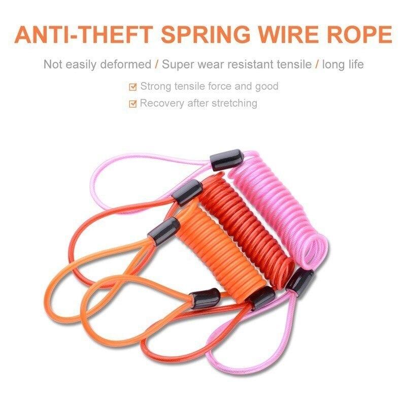Anti Thief Motorbike bicycle Wheel Disc Brake Bag Reminder Spring Cable lock