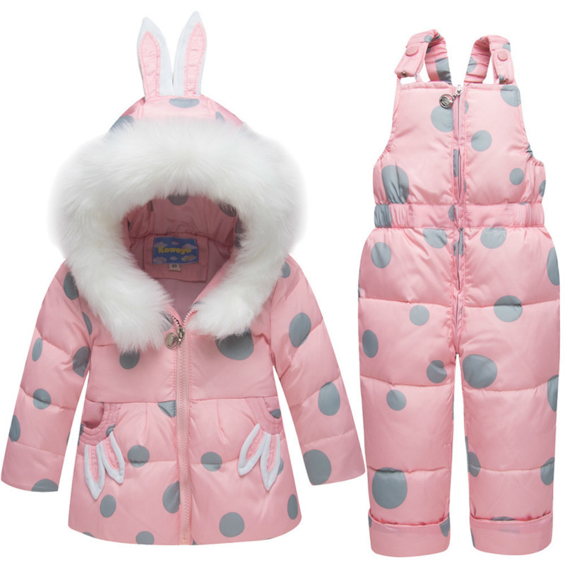 New Winter Children Clothing Sets Girls Warm Parka Down Jacket Baby Girl Clothes Cute Rabbit Coat Snow Bib Pants Wear Kids Suit ems dhl free shipping toddler girls 2016 new cute x mas outfit 2pc suit vest skirt holiday wear children clothing snow flake