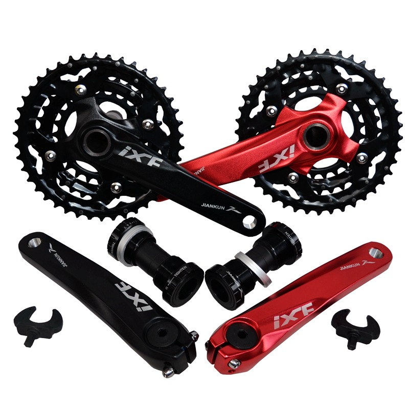 Mountain Bike Crank Set Bicycle Crank Set Sprocket 22/32/42T Bicycle Crank Set Hollow Tooth Plate 9/10/27/30 Speed Tooth Plate