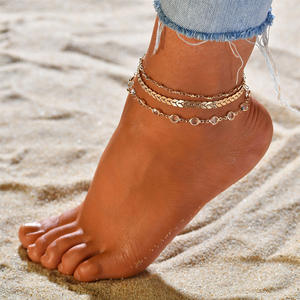 Anklet-Set Crystal Summer Jewelry Silvery Adjustable Wedding High-Quality Golden Sequins