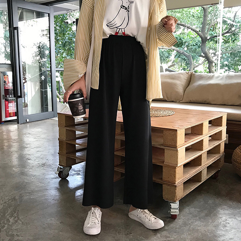 Mooirue Black   Wide     Leg     Pants   Summer Spring Female Street Style Elastic High Waist Trouser Student Black Casual   Pants   Bottoms