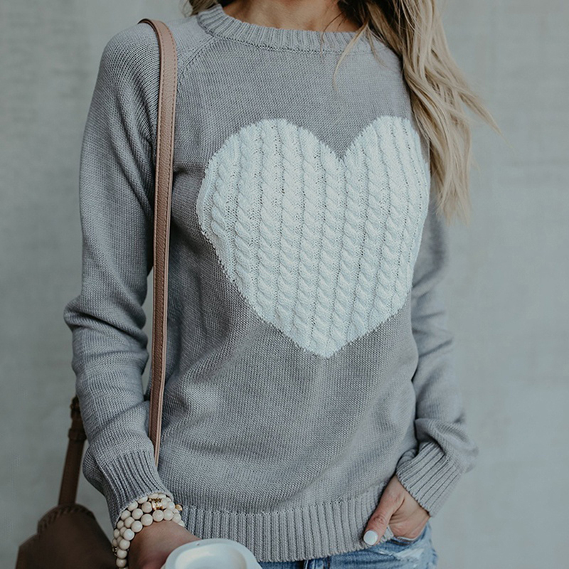 Spring Autumn Sweater Jumper New Fashion Women Sweater Female Reversible Hollow Out Knitted Sweater Pullovers Heart Pattern