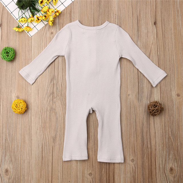 Newborn Full Sleeve Romper Solid Long Pant Jumpsuits Spring Outwear Cotton Outfits Baby girl Boy Clothes 4