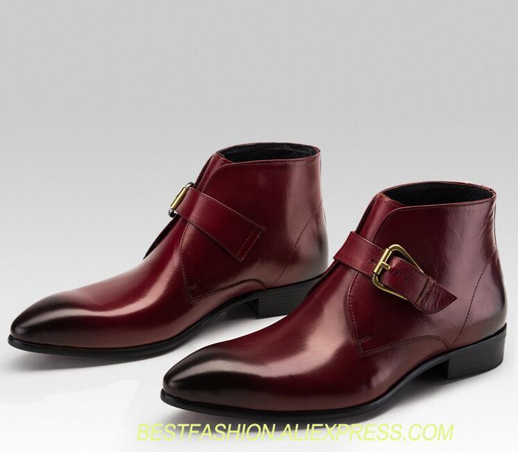 Dress shoes men slip on buckle strap genuine leather pointed toes ankle boots smart casual height increasing shoes martin bootsDress shoes men slip on buckle strap genuine leather pointed toes ankle boots smart casual height increasing shoes martin boots
