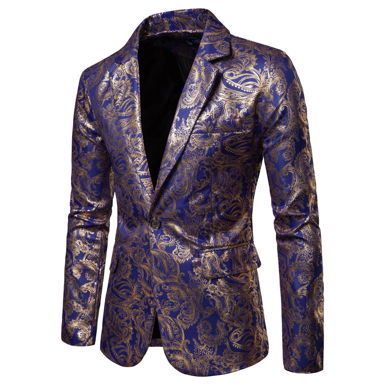 Mens Formal Vintage Wash Gold Suit Blazer Coat Man Slim Fit One Single Button Party Clubwear Dress Blazers Suits Business  Tops