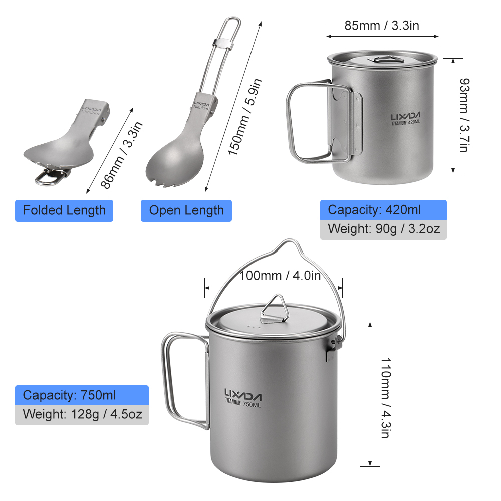 Lixada Outdoor Titanium Lightweight 3 Pieces Set Water Mugs Pot Folding Spork Cookware for Outdoor Backpacking Camping Hiking in Outdoor Tablewares from Sports Entertainment