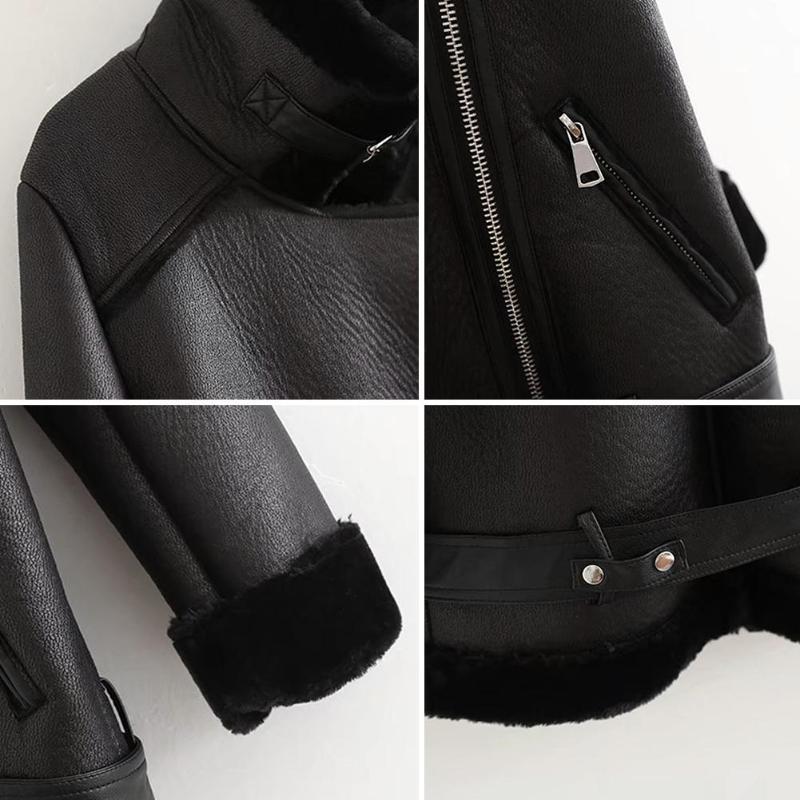 Femmes Outwear D'hiver Suede En 2018 Laine Épais Imitation Manteau Moto Mode Col Biker Fourrure Faux Cuir De Agneaux Veste Patchwork 5qwxFw