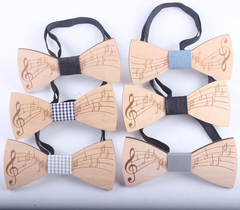 Fashion Wooden Bowtie Gentleman Bow Ties Handmade Music Pattern Tie Party Bow Ties Butterfly Wooden Unique Tie For Man