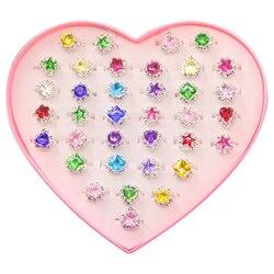 36 adet Renkli Elmas Taklidi Yüzük Kutusu, ayarlanabilir Küçük Kız Mücevher Yüzük Kutusu Çocuk Çocuklar Küçük Kız Hediye, Kız Öncesi