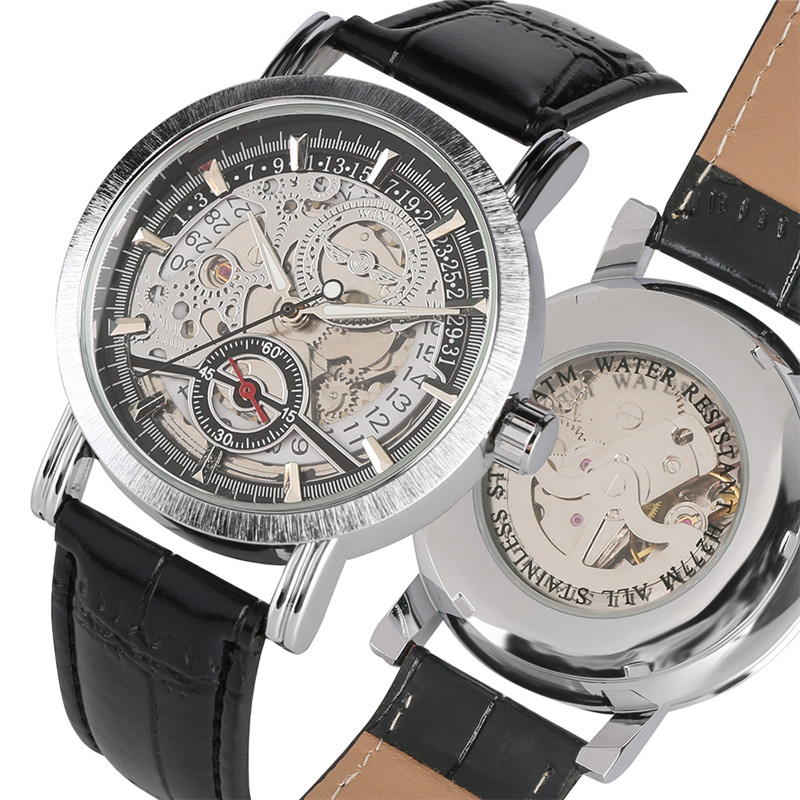 Mens Automatic Mechanical Watches Stainless Steel Self Wind Watch Business Wristwatches