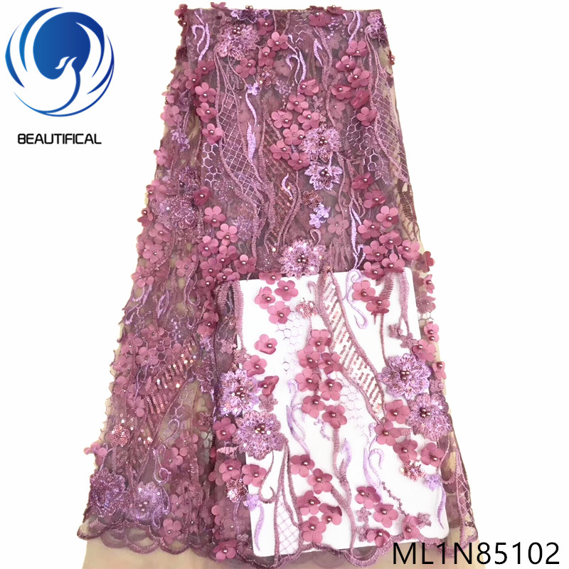 Beautifical nigerian lace fabrics for dresses Top sale 3d flowres net lace fabric with sequins embroidery beads fabrics ML1N851Beautifical nigerian lace fabrics for dresses Top sale 3d flowres net lace fabric with sequins embroidery beads fabrics ML1N851