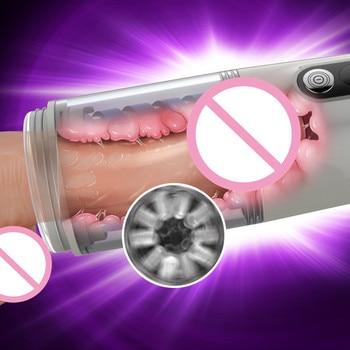 Massage Intelligent Sucking Masturbator Silicone Artificial Vagina Male Hand Free Masturbator Automatic Spin Licking Men Sex Toy