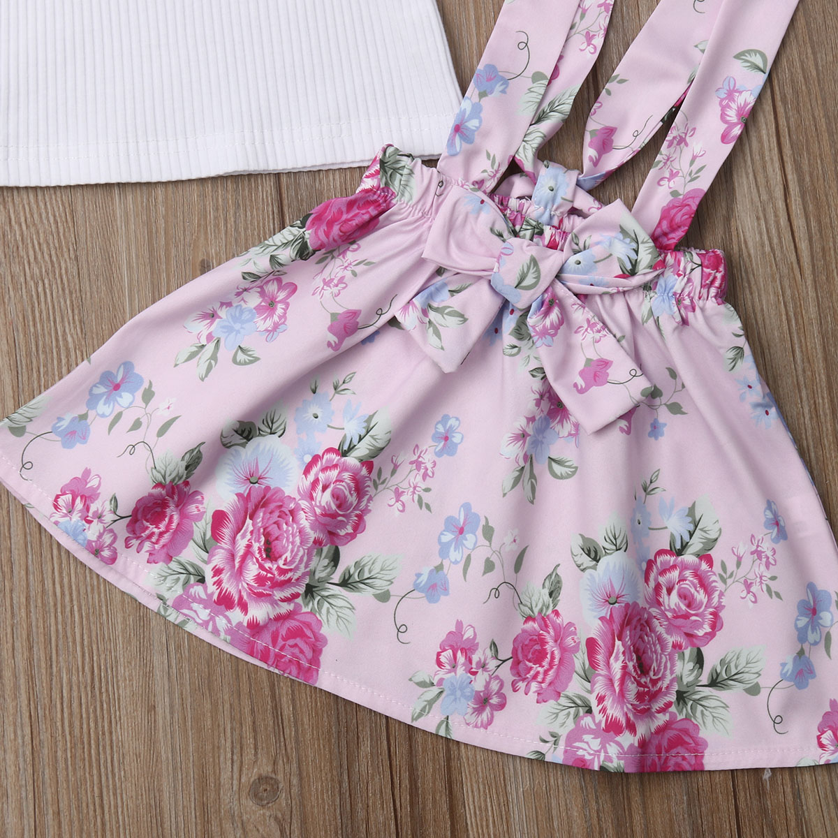 Toddler Kids Baby Girl Tops T-Shirt Flower Suspender Skirt 3PCS Outfits Clothes