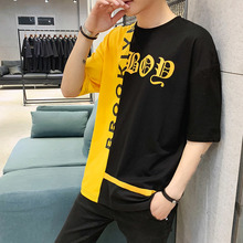 T-Shirt 2019 Summer New Short Boys Hip Hop Hong Style Loose Striped Cotton Sleeve Round Neck Young Male tops Black Free shipping цена
