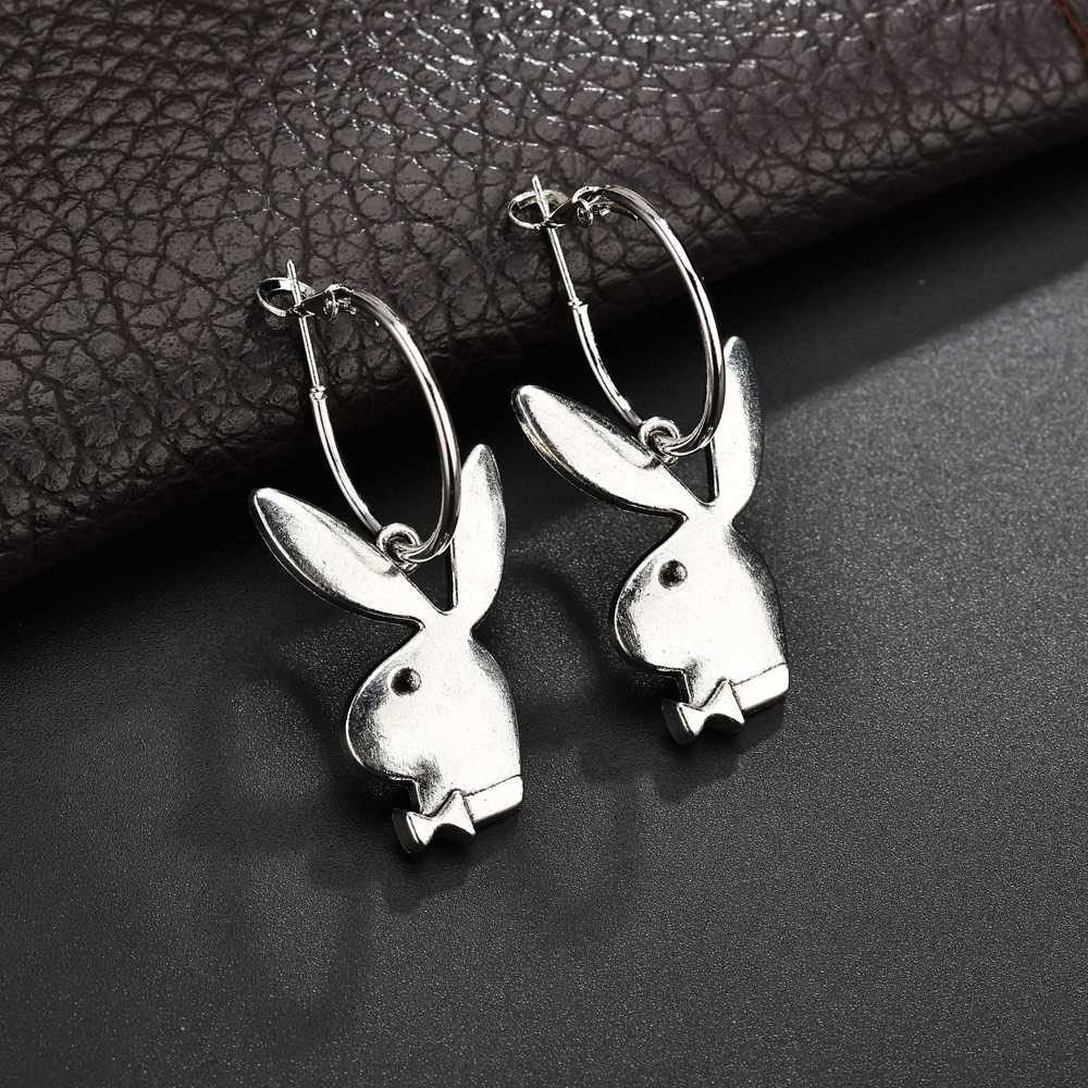 2019 European Stereoscopic Trendy Cute Rabbit Drop Earrings With Pendant Silver Color Lovely Fashion Earring Jewelry Accessories