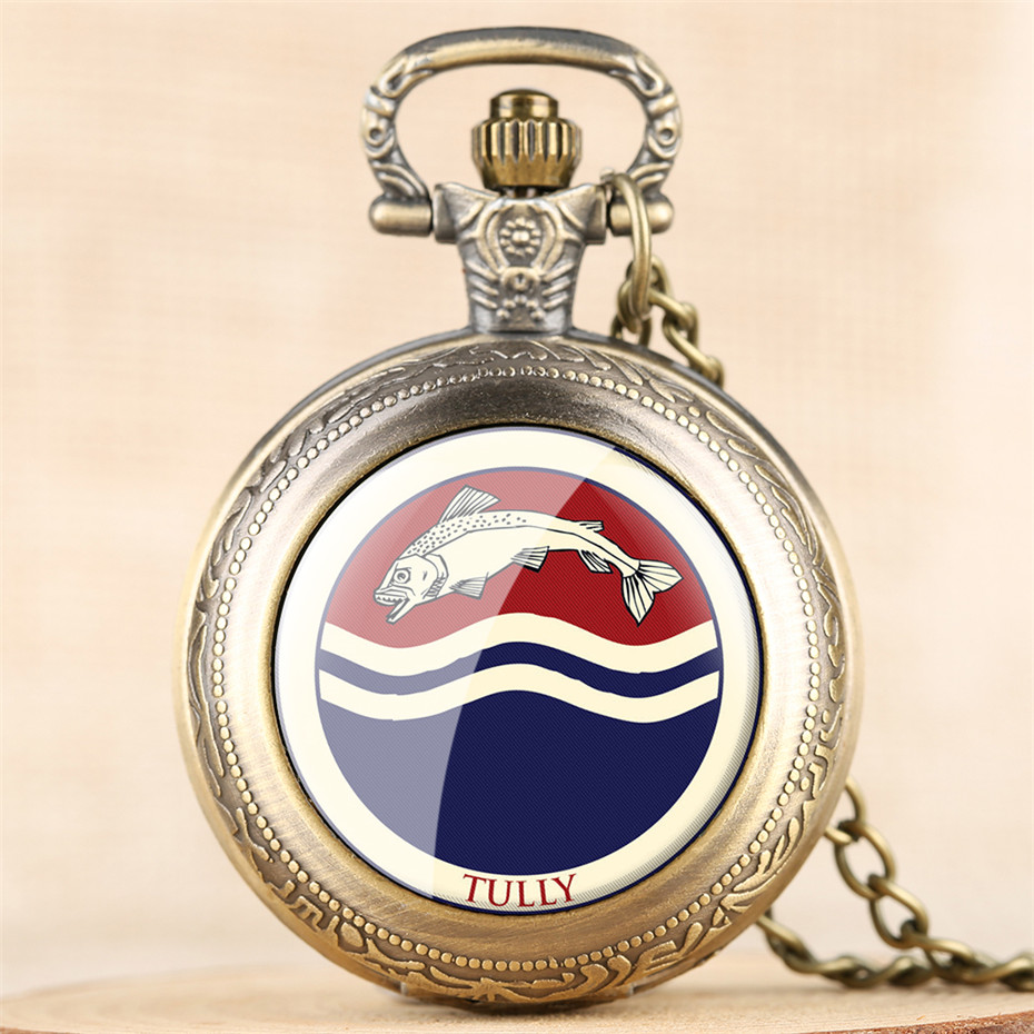 Vintage Game Of Thrones Tully Theme Quartz Pocket Watch Exquiste Necklace Chain Steampunk Cool Pendant Clock Gifts Kid Men Women