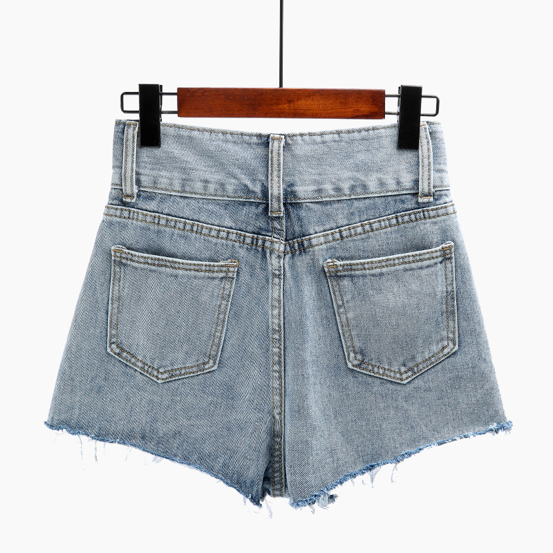 Summer Women High Waist Denim Shorts Vintage High Street Basic Sexy Mini Jeans Shorts