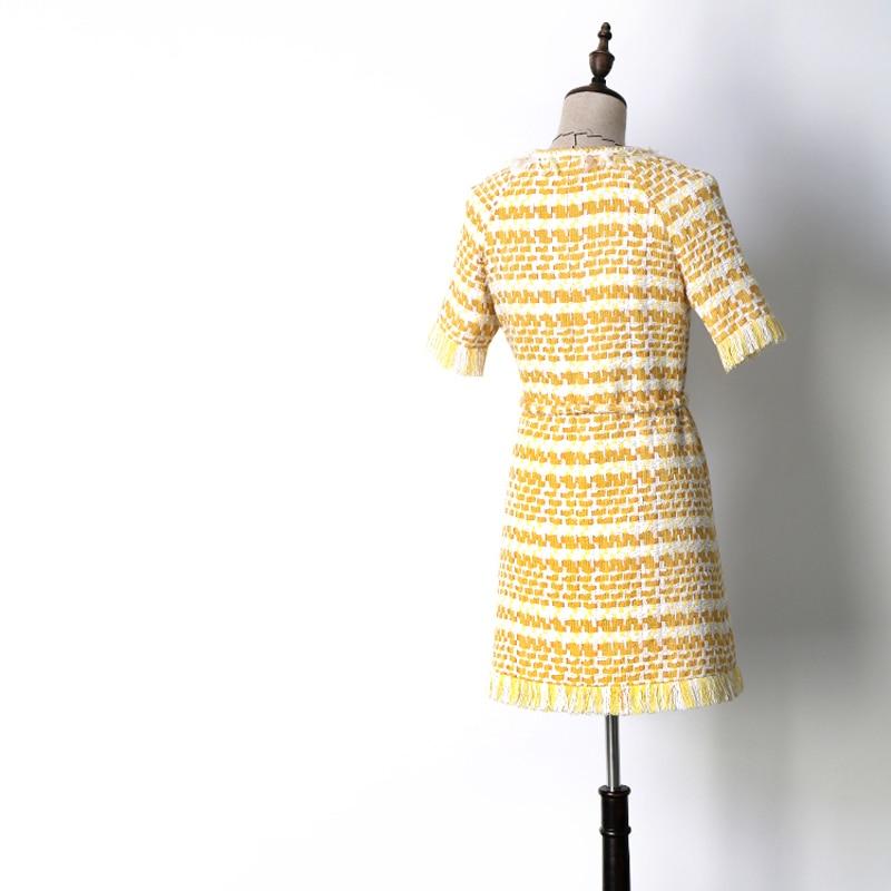 Tassel Élégant Robe Blanc Robes Lady Femmes Printemps Ceinture Jc2414 Yellow Office Automne Jaune Tweed Manches Poitrine Courtes Unique wpnYqv