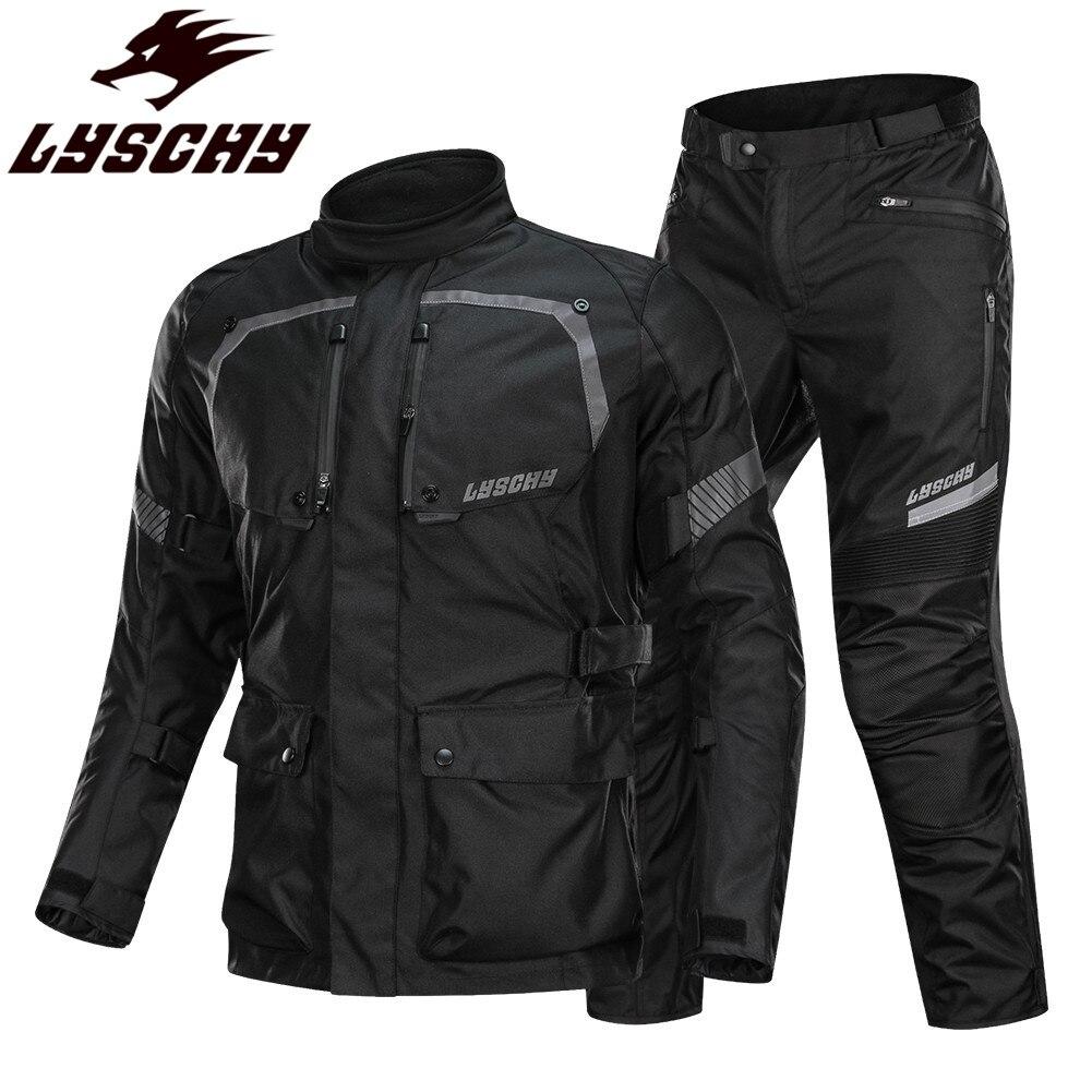 Lyschy touring motocicleta jaqueta moto equitação terno de proteção enduro roupas homem casaco armadura corpo chaqueta jaquetas calças