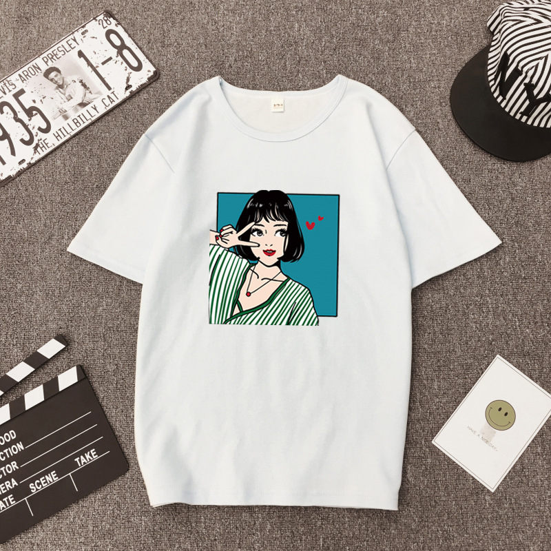 Korean Style Women Tshirt Spring Summer Fashion Print Short Sleeve O Neck Cotton Women Tops Casual Loose Tee shirt Femme in T Shirts from Women 39 s Clothing