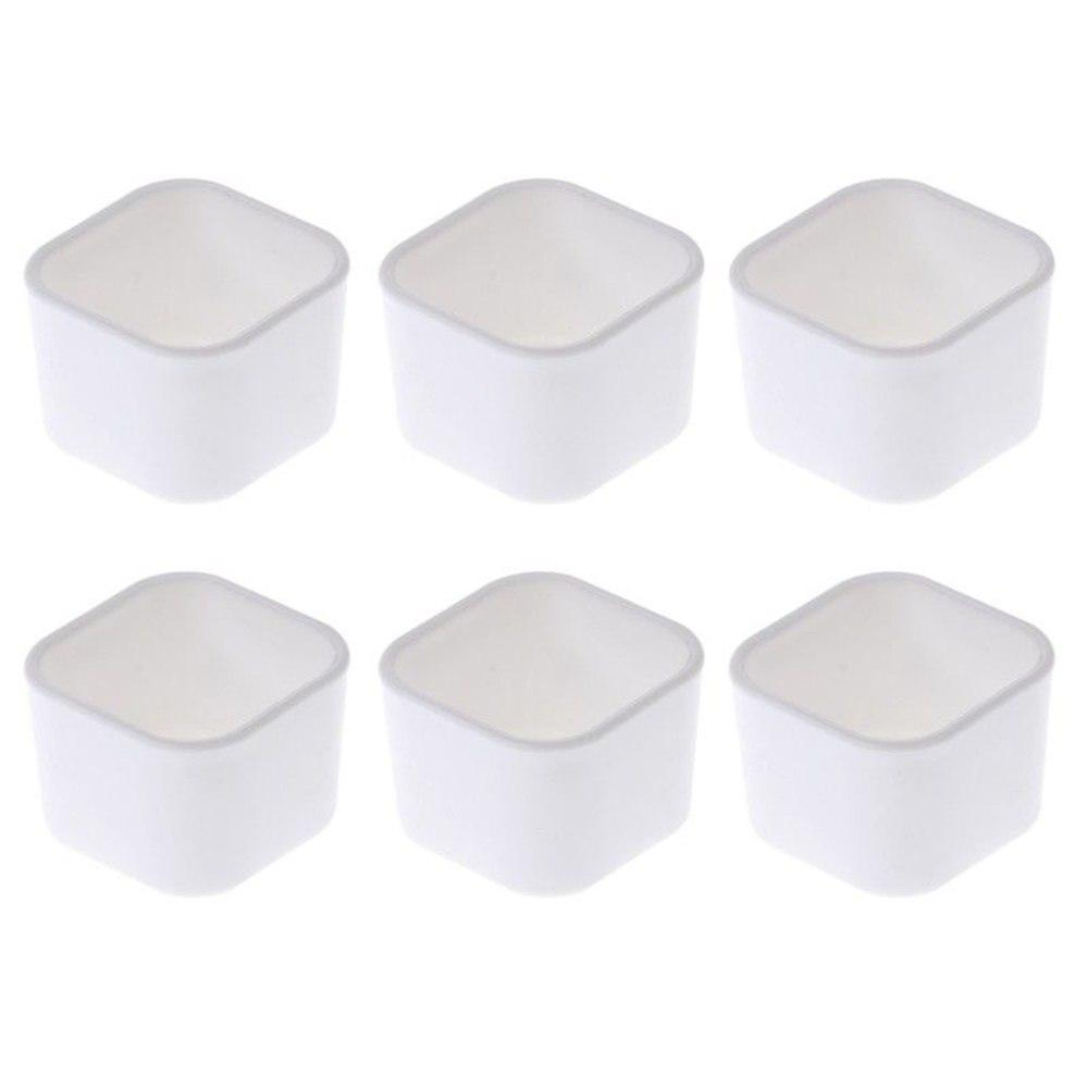 5.5x4.2cm White Square Succulent Plant Fleshy Flower Decorative Square Pot Box Container Plastic Plant Pot Garden Planter