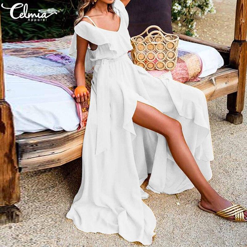 Frauen Sommer Kleid 2019 Celmia Sexy V-ausschnitt Ärmelloses Shirt Maxi Lange Kleider Hohe Split Böhmischen Strand Vestidos Robe Plus Größe