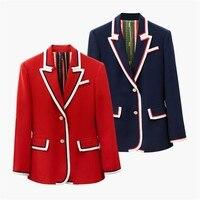 ZOUHIRC High Quality New Fashion 2019 Designer Blazer Jacket Women's Single Breasted Patchwork Blazer Outerwear OL Coat
