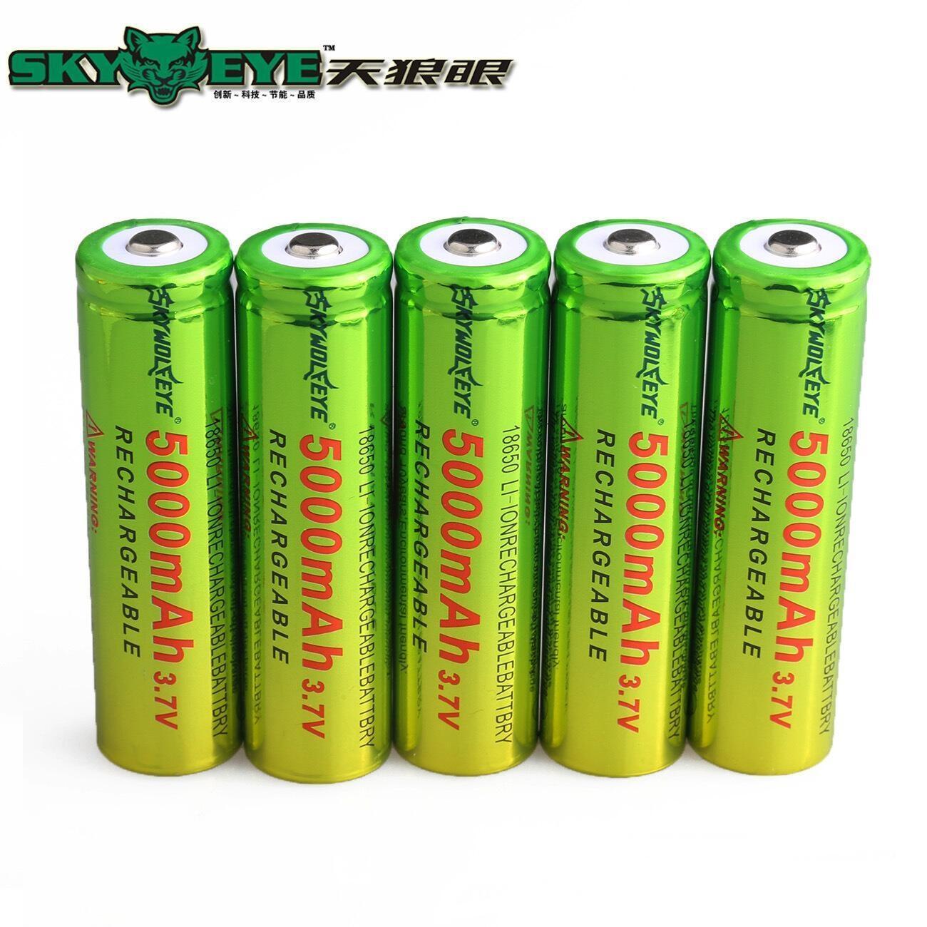 1 Pieces Li-ion 18650 5000mAh Rechargeable Batteries 3.7 V 18650 Lithium Battery Cells Replacement