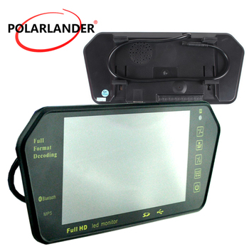 MP5 Bluetooth TF USB 7 Inch TFT LCD 1024x600 Car rear reverse Mirror Car parking Monitor FM transmitter reversing priority
