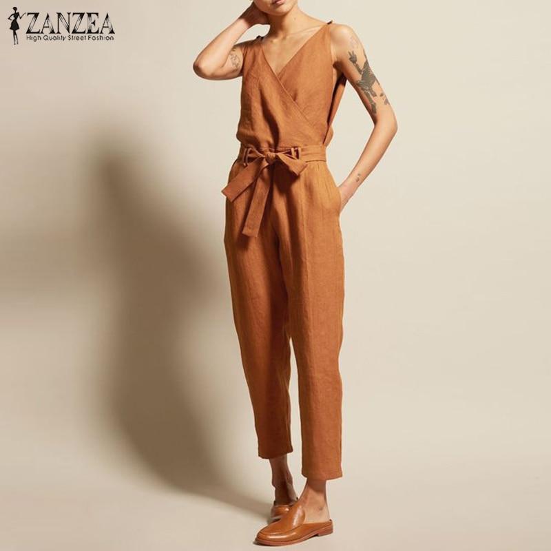 Rompers Women   Jumpsuits   ZANZEA 2019 Summer Elegant Solid Sleeveless V-Neck   Jumpsuit   Side Pockets Combinaison Femme Long Mono 5XL