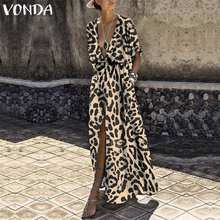 VONDA Women Printed Long Dress 2019 Sexy V Neck Half Sleeve High Waist Split Leopard Party Dress Holiday Casual Vestidos Baggy