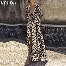 VONDA Women Printed Long Dress 2019 Sexy V Neck Half Sleeve High Waist Split Leopard Party Dress Holiday Casual Vestidos Baggy