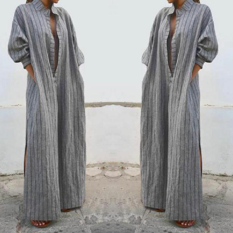 Oversized Long Shirt Dress S-3XL Striped Ladies Long Sleeve Maxi Cotton Linen Рубашка