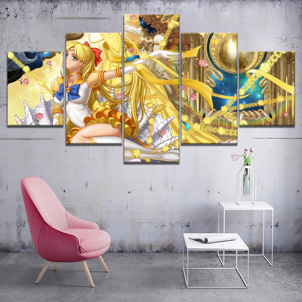 5 Panel HD Print Sailor Moon Anime Girl Picture Modern Decorative Paintings on Canvas Wall Art for Home Decorations Wall Decor in Painting Calligraphy from Home Garden