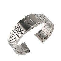 스테인레스 스틸 22mm 블랙/실버 soild 시계 밴드 남자 시계 금속 스트랩 팔찌 시계 교체 시계 밴드 럭셔리