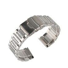 Aço inoxidável 22mm preto/prata soild pulseira para relógios masculinos pulseiras de metal relógio de substituição banda de relógio de luxo