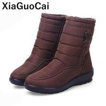 цена Women Snow Boots 2019 Winter Warm Female Mid-calf Boots Plus Size Plush Cotton Shoes With Fur High Quality For Elderly Woman онлайн в 2017 году