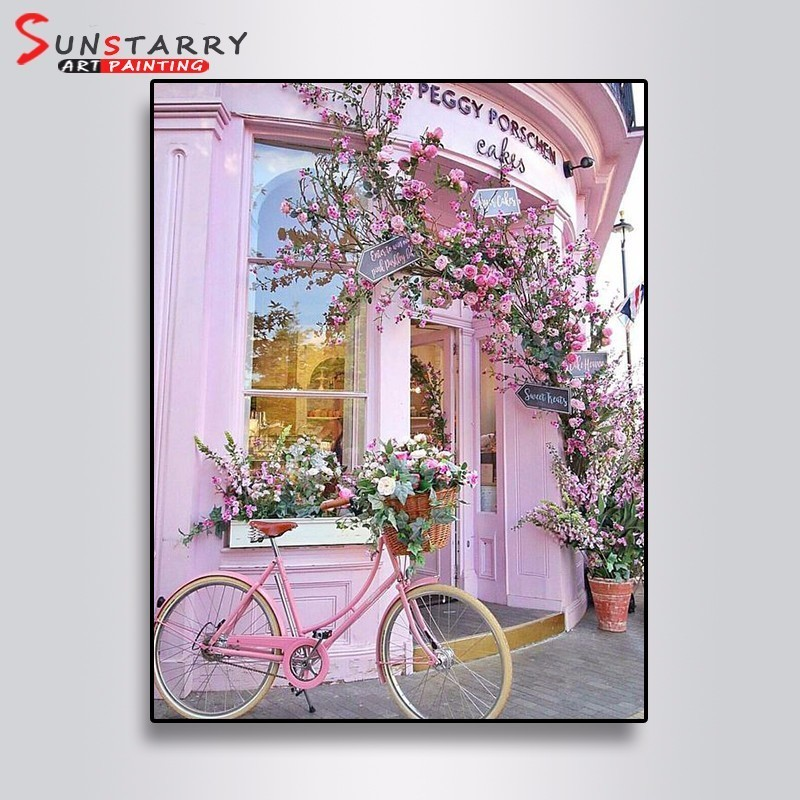 Sunstarry Full Round 5D DIY Diamond Painting Flowers And Bicycles Embroidery Cross Stitch Rhinestone Mosaic Painting Decor Gift