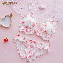 Big Strawberry น่ารักญี่ปุ่นผ้าไหม Bra & กางเกงชุด Wirefree ชุดชั้นใน Sleep Intimates ชุด Kawaii Lolita สีขาว