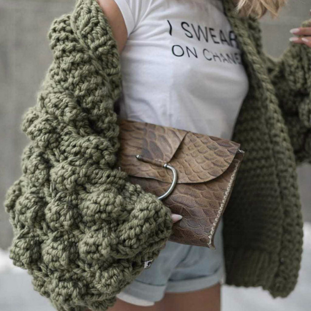 a1ccbb18f00614 Chic Coarse Crochet Cardigan 3D Floral Hook Sweater Hand Knitted Coat  V-Neck Rough Wool