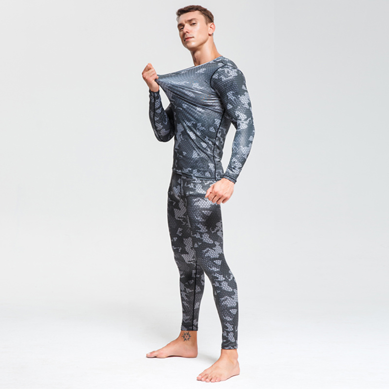 Image 4 - Men Compression sportswear Run Suits Clothes Sports Set Long t shirt And leggings Gym Fitness workout Tights clothing base layer-in Running Sets from Sports & Entertainment on AliExpress